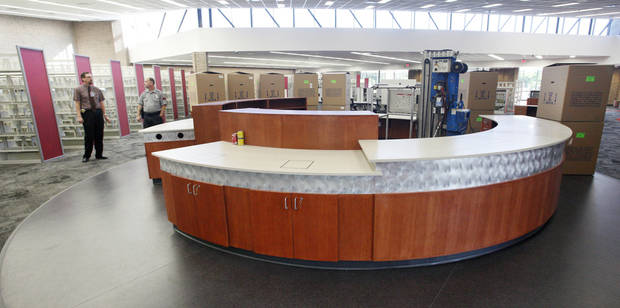 New front desk at the entrance inside the remodeled Southern Oaks Library in south Oklahoma City Wednesday, Aug. 29, 2012.  Photo by Paul B. Southerland, The Oklahoman