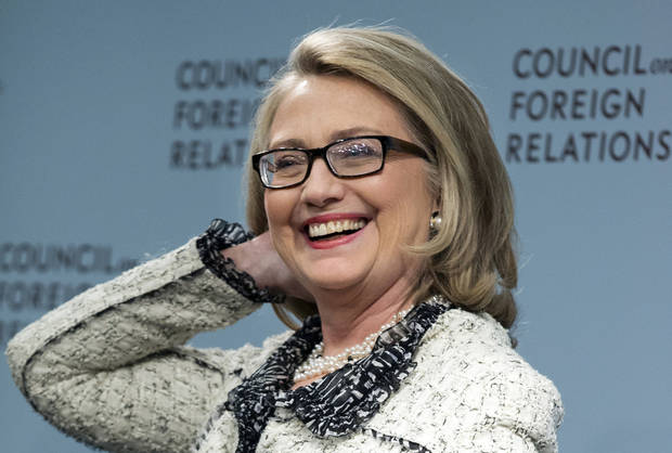 Secretary of State Hillary Rodham Clinton smiles before speaking on American leadership at the Council on Foreign Relations in Washington, Thursday, Jan. 31, 2013. (AP Photo/Manuel Balce Ceneta)