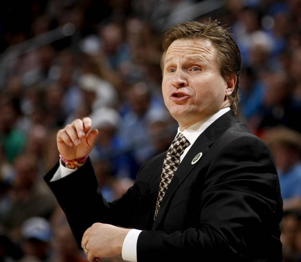 Oklahoma CIty coach Scott Brooks shouts at his team during the NBA basketball game between the Oklahoma City Thunder and the Los Angeles at the Oklahoma City Arena, Wednesday, April 6, 2011. Photo by Bryan Terry, The Oklahoman