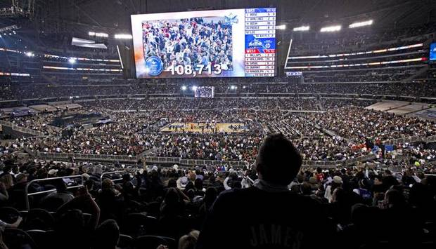 A record crowd watches the NBA All-Star basketball game at Cowboys Stadium in Arlington, Texas, Sunday, Feb. 14, 2010.  Photo by Bryan Terry, The Oklahoman ORG XMIT: KOD