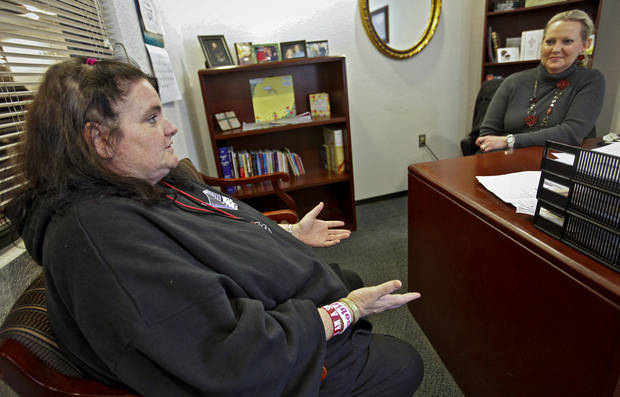 City Rescue Mission resident Jill Thompson speaks with the shelter's director of bridge to life women's program Brenda Guisinger on Thursday, Nov. 17, 2011. in Oklahoma City, Okla. Thompson works the B.T.L program to help in the recovery of physical and substance abuse that played a major role in her homeless situation.  Photo by Chris Landsberger, The Oklahoman