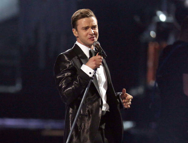 "FILE - This Feb. 20, 2013 file photo shows Justin Timberlake during the BRIT Awards 2013 in London. Timberlake's ""Mirrors,"" was the most viral track on Spotify, based on the number of people who shared it divided by the number who listened to it, from Monday, Feb. 18, to Sunday, Feb. 24.  (Photo by Joel Ryan/Invision/AP, file)"