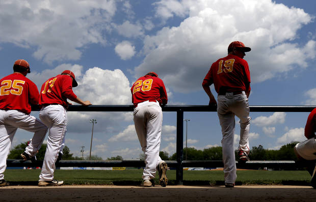 The Dale baseball team watches from the dugout during their Class 2A state baseball tournament championship game against Silo in Shawnee, Okla., Saturday, May 11, 2013. Photo by Bryan Terry, The Oklahoman