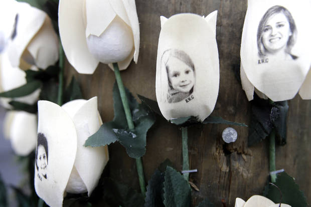Photos showing those killed in the shootings at Sandy Hook Elementary School are imprinted on fake roses at a memorial in the Sandy Hook village of Newtown, Conn., Saturday, Dec. 22, 2012. (AP Photo/Seth Wenig) ORG XMIT: CTSW105