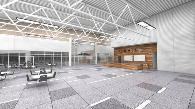 An artist rendering of the reception area at Summit Sports Complex which will be at I-35 and Covell in Edmond, Okla., with a planned opening of the summer of 2015.