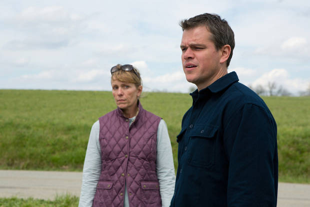 "Frances McDormand and Matt Damon play sales reps for a big energy company in the Gus Van Sant-directed film ""Promised Land."" FOCUS FEATURES FILM <strong></strong>"