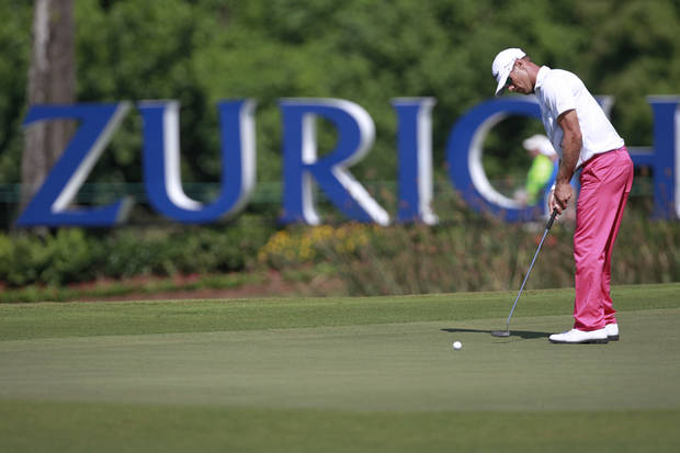 Graham DeLaet putts on the 17th green during the third round of the Zurich Classic golf tournament at TPC Louisiana in Avondale, La., Saturday, April 28, 2012. (AP Photo/Gerald Herbert)