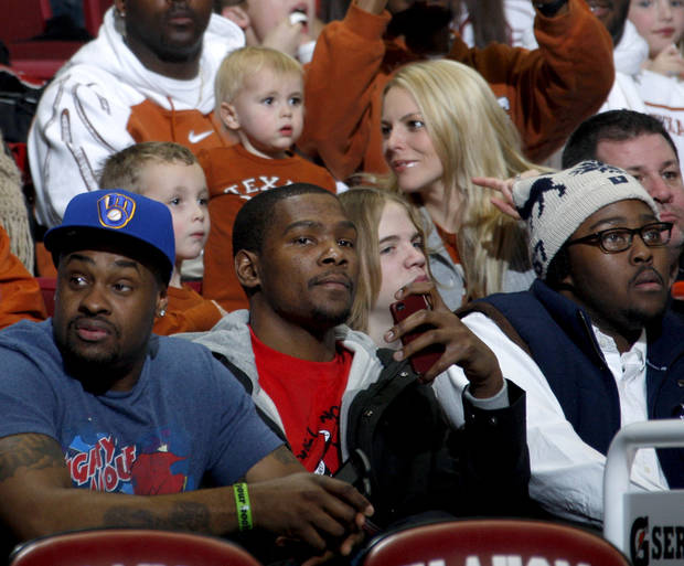 Kevin Durant of the Oklahoma City Thunder watches during the NCAA college basketball game between the University of Oklahoma Sooners and Texas Longhorns at Lloyd Noble Center in Norman, Okla., Wednesday, Feb. 9, 2011. Photo by Bryan Terry, The Oklahoman