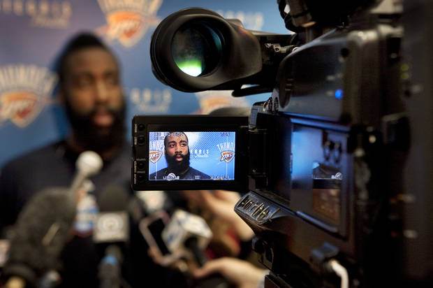 James Harden speaks with the media following practice at the Oklahoma City Thunder practice facility on Friday, April 27, 2012, in Oklahoma City, Okla. Photo by Steve Sisney, The Oklahoman <strong>STEVE SISNEY</strong>