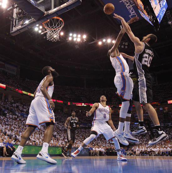 San Antonio's Manu Ginobili (20) shoots the ball over Oklahoma City's Kevin Durant (35) during Game 6 of the Western Conference Finals between the Oklahoma City Thunder and the San Antonio Spurs in the NBA playoffs at the Chesapeake Energy Arena in Oklahoma City, Wednesday, June 6, 2012. Photo by Bryan Terry, The Oklahoman