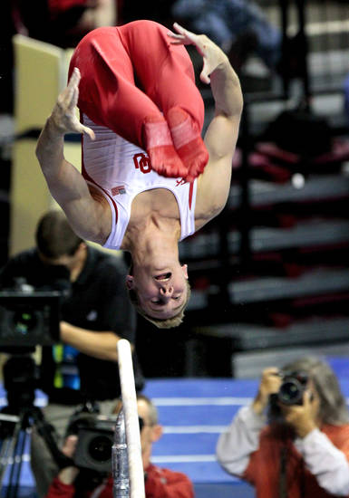 University of Oklahoman's Danny Berardini competes in the parallel bars at the event finals of the men's NCAA Men's Gymnastics Championships at the Lloyd Noble Center on Saturday, April 21, 2012, in Norman, Okla.  Photo by Steve Sisney, The Oklahoman