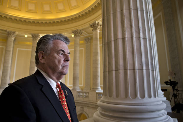 Rep. Peter King, R-N.Y., whose district includes Long Island, expresses his anger and disappointment during a cable TV interview, on Capitol Hill in Washington, Wednesday, Jan. 2, 2013, after the House GOP leadership decided late New Year's Day to allow the current term of Congress to end without holding a vote on aid for victims of Superstorm Sandy. (AP Photo/J. Scott Applewhite)