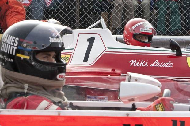 "Daniel Brühl and Chris Hemsworth star in director Ron Howard's racing biopic ""Rush."" Universal Pictures photo <strong></strong>"