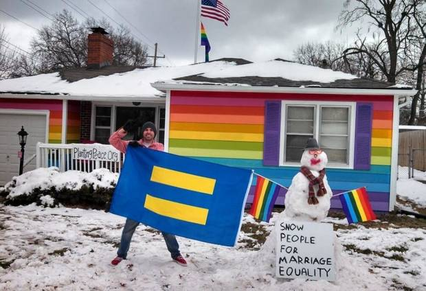 Aaron Jackson, who runs the nonprofit group Planting Peace, recently bought the house across the street from Westboro Baptist Church and painted it all the colors of the rainbow in protest of the church's ideology.