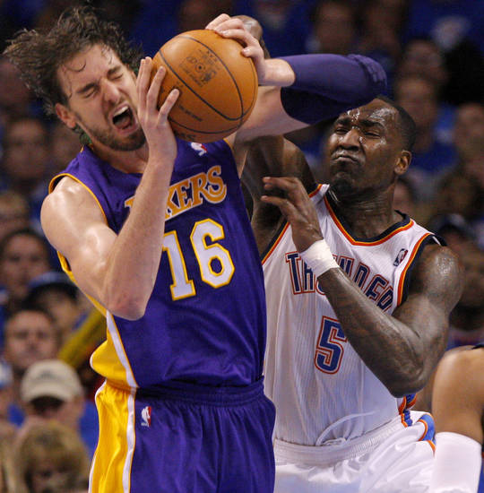 Oklahoma City&#039;s Kendrick Perkins (5) fouls Los Angeles&#039; Pau Gasol (16) during Game 5 in the second round of the NBA playoffs between the Oklahoma City Thunder and the L.A. Lakers at Chesapeake Energy Arena in Oklahoma City, Monday, May 21, 2012. Photo by Bryan Terry, The Oklahoman