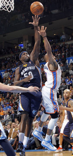 Memphis' Zach Randolph (50) shuts down Oklahoma City's Russell Westbrook (0) during the NBA basketball game between the Oklahoma City Thunder and the Memphis Grizzlies at Chesapeake Energy Arena on Wednesday, Nov. 14, 2012, in Oklahoma City, Okla.   Photo by Chris Landsberger, The Oklahoman