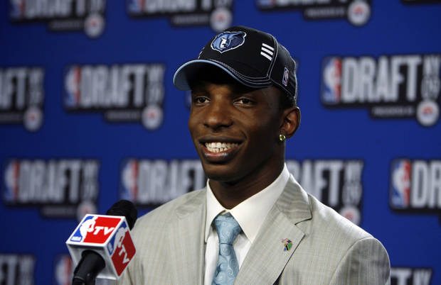 University of Connecticut's Hasheem Thabeet takes questions in the interview room after being selected by the Memphis Grizzlies as the No. 2 pick in the first round of the NBA basketball draft Thursday, June 25, 2009, in New York.  (AP Photo/Jason DeCrow) ORG XMIT: NYJD104