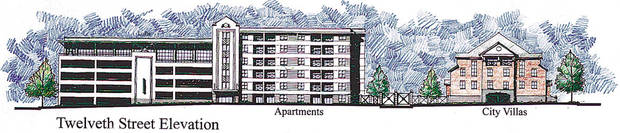 This artist's drawing shows a portion of the plans for a north downtown block that once was the home of Mercy Hospital. The plans were presented Friday by Old Mercy Redevelopers, a partnership led by Nicholas J. Preftakes. Drawing is of apartments and city villas. 12th Street Elevation.