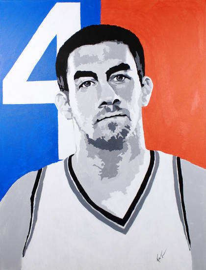 The Thunder�s Nick Collison, who has become one of the league�s best at taking charges, drew 28 offensive fouls in last year�s lockout-shortened NBA season. This will be the eighth season in the league for Collison, a former Kansas standout. Art by Ray Tennyson/photo provided