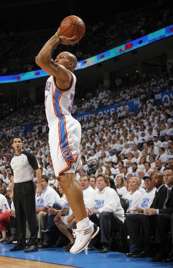 Oklahoma City's Derek Fisher (37) shoots during Game 2 of the first round in the NBA basketball playoffs between the Oklahoma City Thunder and the Dallas Mavericks at Chesapeake Energy Arena in Oklahoma City, Monday, April 30, 2012. Photo by Sarah Phipps, The Oklahoman