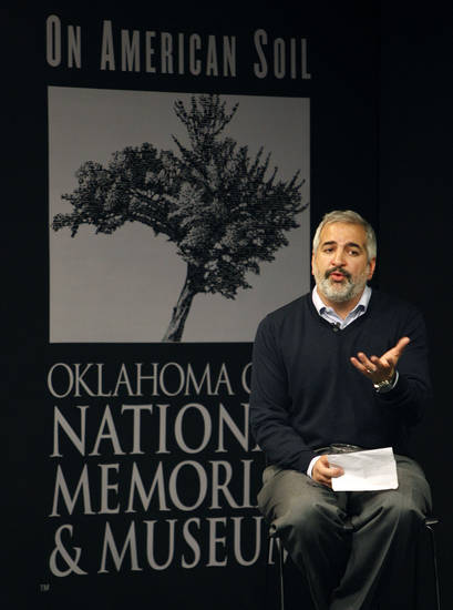 New York Times Beirut Bureau Chief and Pulitzer Prize-winning journalist Anthony Shadid speaks at the Oklahoma CIty National Memorial & Museum Thursday, April, 7, 2011. Photo by Bryan Terry, The Oklahoman ORG XMIT: KOD