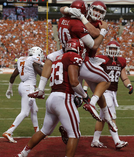 OU's Blake Bell (10) and Brannon Green (82) celebrate after a touchdown during the Red River Rivalry college football game between the University of Oklahoma (OU) and the University of Texas (UT) at the Cotton Bowl in Dallas, Saturday, Oct. 13, 2012. Photo by Bryan Terry, The Oklahoman