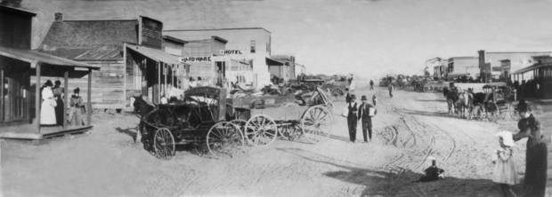 Early Oklahoma City looks east from Robinson down Main Street.  It was taken about 1890.