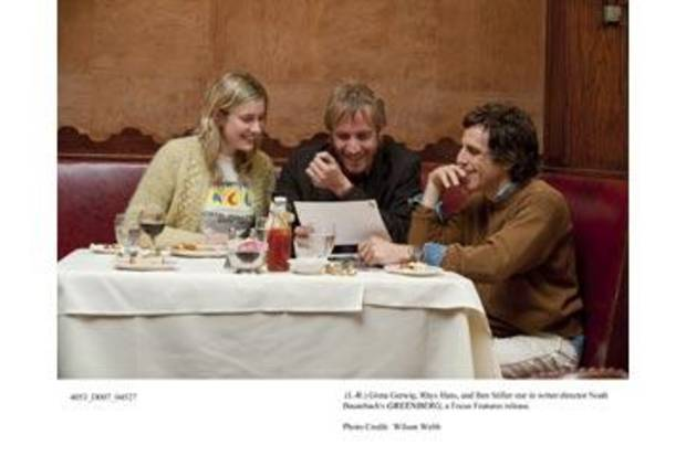Greta Gerwig, Rhys Ifans and Ben Stiller in &quot;Greenberg.&quot;