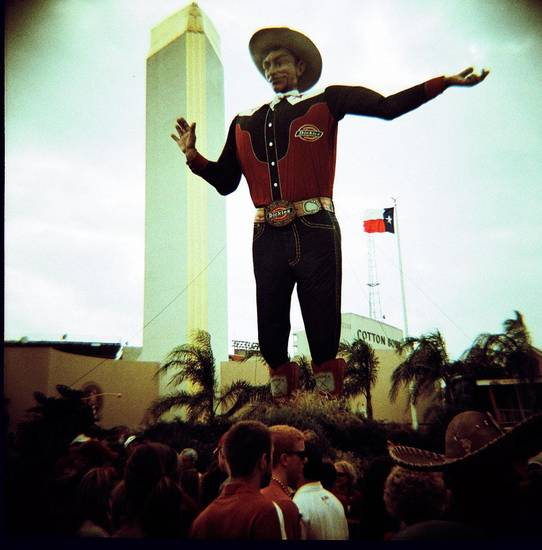 Big Tex, RIP, outside the Cotton Bowl at the Texas State Fair before the OU/Texas football game in Dallas, Saturday, Oct. 13, 2012