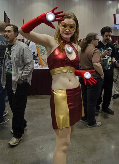 Toby Holmes cosplaying as Iron Woman. Photo by Rachael Luke Privett