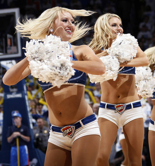 The Thunder Girls dance team performs during Game 2 of the first round in the NBA basketball  playoffs between the Oklahoma City Thunder and the Dallas Mavericks at Chesapeake Energy Arena in Oklahoma City, Monday, April 30, 2012.  Oklahoma City won, 102-99. Photo by Nate Billings, The Oklahoman