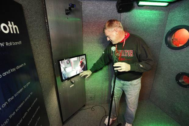 "Project Manager Tom Ford demonstrates one of the interactive vocal booths that is part of the new traveling exhibit ""The Science of Rock 'n' Roll"" at Science Museum Oklahoma in Oklahoma City, OK, Monday, February 3, 2014, Photo by Paul Hellstern, The Oklahoman"