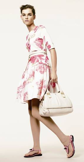 Floral skirt and sweater by Liz Claiborne for spring 2009.