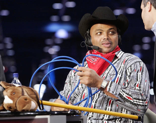 Charles Barkley, dressed in mock cowboy attire, waits on the set for the beginning of TNT's Inside the NBA at the NBA Jam Session, part of the NBA All-Star events in Houston, Texas, Febraury 16, 2006. Barkley was dressed up to address the negative comments he made about Oklahoma during a broadcast last week. By Nate Billings, The Oklahoman.