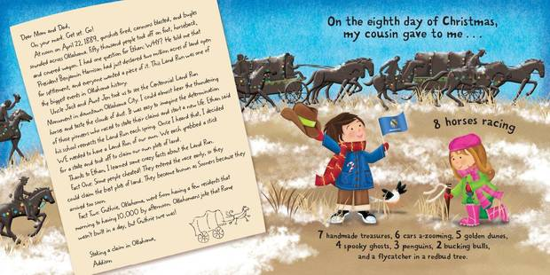 "From ""The Twelve Days of Christmas in Oklahoma,"" written by Tammi Sauer and illustrated by Victoria Hutto, this page features The Land Run of 1889. Photo provided. <strong></strong>"