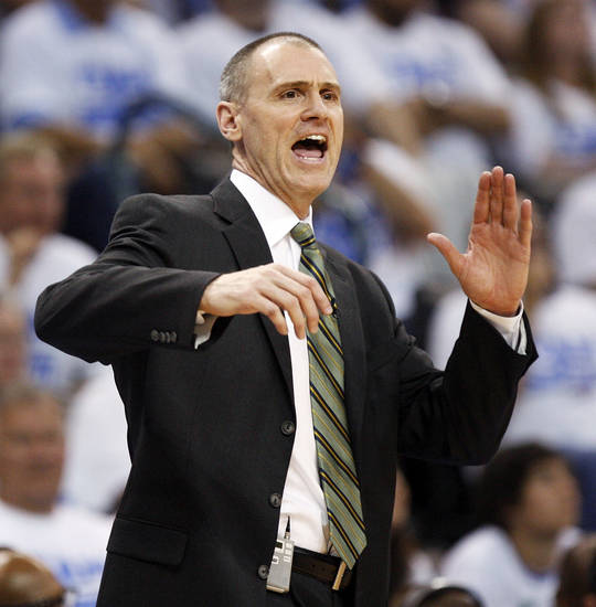 Dallas head coach Rick Carlisle gives instructions to his players during Game 2 of the first round in the NBA basketball  playoffs between the Oklahoma City Thunder and the Dallas Mavericks at Chesapeake Energy Arena in Oklahoma City, Monday, April 30, 2012.  Oklahoma City won, 102-99. Photo by Nate Billings, The Oklahoman