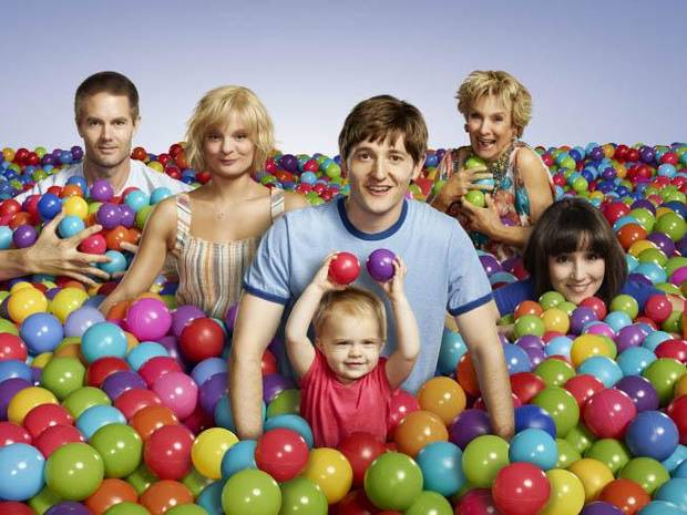 "From left, Garret Dillahunt, Martha Plimpton, Lucas Nef, Baylie/Rylie Cregut, Cloris Leachman and Shannon Woodward of ""Raising Hope"" - Fox Photo"