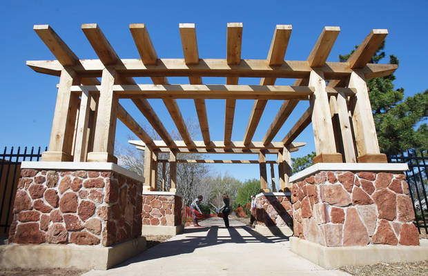 The new entrance to the arboretum at Will Rogers Gardens draws from designs previously installed at the Depression-era park.