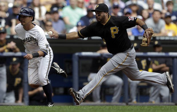 Pittsburgh Pirates third baseman Pedro Alvarez tags out Milwaukee Brewers' Norichika Aoki during the third inning of a baseball game Monday, Sept. 2, 2013, in Milwaukee. Aoki tried to score from third on a hit by Jonathan Lucroy. (AP Photo/Morry Gash)
