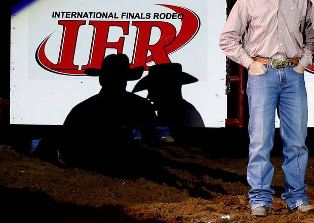 A contestant is interviewed before the International Finals Rodeo inside the State Fair Arena in Oklahoma City, Friday, Jan. 18, 2013. Photo by Bryan Terry, The Oklahoman