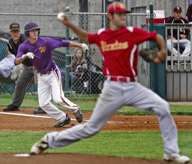 HIGH SCHOOL BASEBALL TOURNAMENT: Wister's Jon Watts (12) leads off of first base during the Oklahoma State Baseball tournament between Dale High School and Wister High School  at Edmond Santa Fe High School on Thursday, Oct. 4, 2012, in Edmond, Okla.   Photo by Chris Landsberger, The Oklahoman