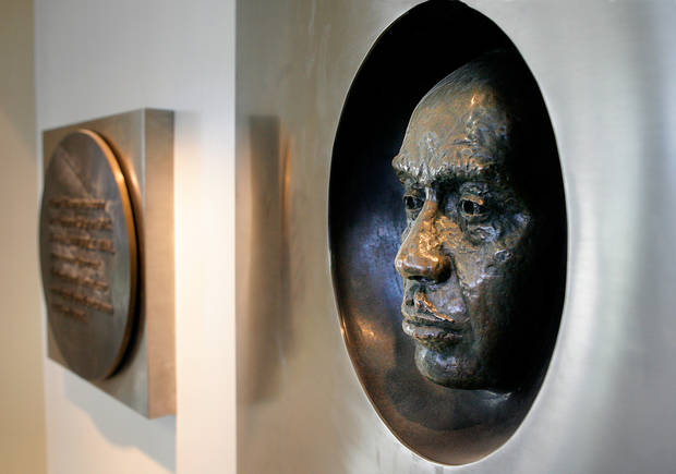 A sculpture of the face of the library's namesake is displayed in the building's foyer as the Ralph Ellison Branch Library in northeast Oklahoma City readies for its reopening after an extensive interior and exterior expansion and romodeling project.    Photo by Jim Beckel, The Oklahoman