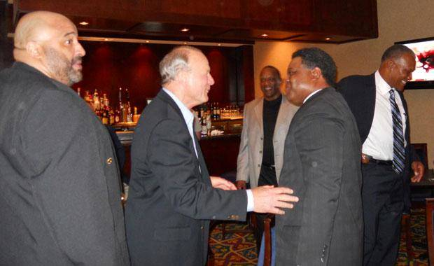 From left; Greg Roberts, Barry Switzer, Billy Sims, Thomas Lott and Daryl Hunt all gathered to celebrate Lott's induction into the Texas High School Football Hall of Fame. Photo provided.