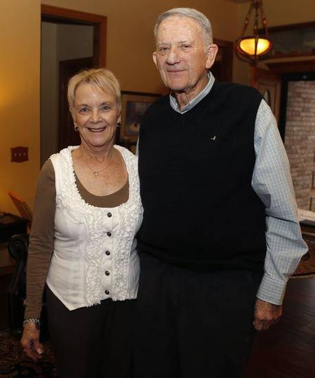 Mary Ann and Jim Markey pose for a photo during their 50th anniversary party in Edmond, Saturday, March 23, 2013. Photo by Bryan Terry, The Oklahoman