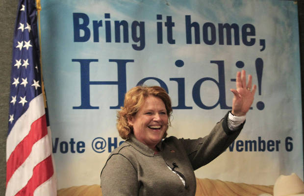 Democratic U.S. Senate candidate Heidi Heitkamp waves as she is introduced during a campaign stop at Teamsters Hall in Fargo, N.D, Monday, Nov. 5, 2012. Heitkamp is running against Republican Rick Berg for the North Dakota's U.S Senate seat. (AP Photo/LM Otero)