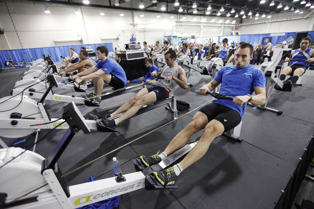 Teams compete in rowing events during Bart & Nadia's Sports & Health Festival at the Cox Convention Center in Oklahoma City, OK, Saturday, February 16, 2013,  By Paul Hellstern, The Oklahoman