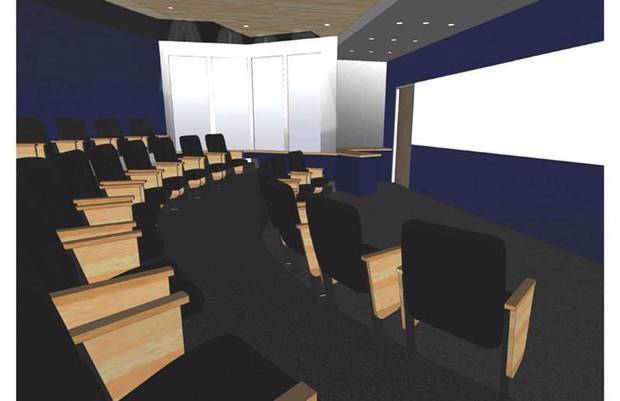 An artist's rendering of what the Oklahoma City Thunder's team meeting room inside the practice facility will look like. PHOTO PROVIDED