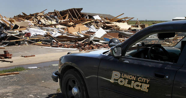 This home in Union City was destroyed in Friday night's tornado.  Photo  by Jim Beckel, The Oklahoman.