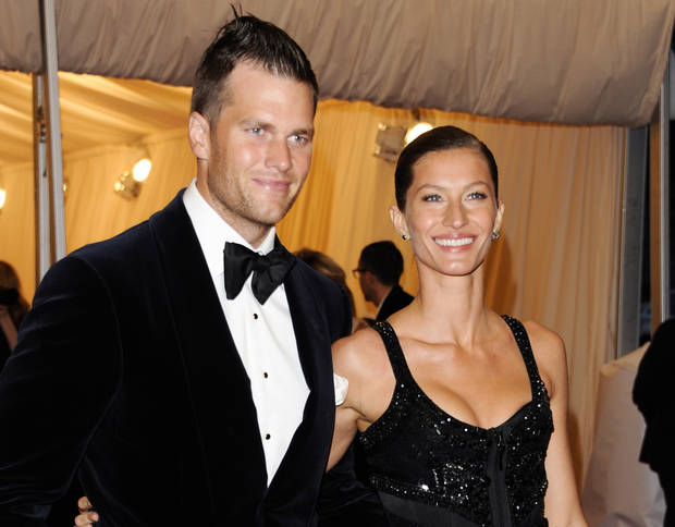 FILE - This May 7, 2012 file photo shows New England Patriots football player Tom Brady and his wife, Gisele Bundchen, at the Metropolitan Museum of Art Costume Institute gala benefit in New York. Brady and Bundchen have announced the birth of their second child, a girl named Vivian Lake. (AP Photo/Evan Agostini, File)