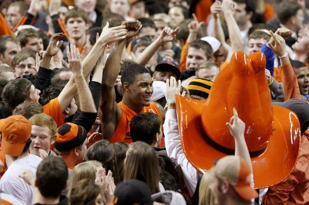 Oklahoma State's Le'Bryan Nash celebrates with fans following an NCAA college basketball game between the Oklahoma State University Cowboys (OSU) and the Missouri Tigers (MU) at Gallagher-Iba Arena in Stillwater, Okla., Wednesday, Jan. 25, 2012. Oklahoma State won 79-72. Photo by Bryan Terry, The Oklahoman